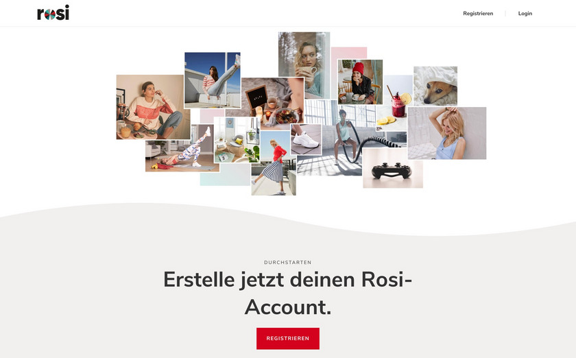 Desktop Startseite der ROSI Influencer Marketing Plattform.