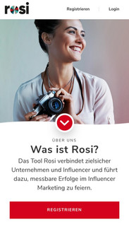 Mobile Ansicht des Registrierungsvorgangs vom ROSI Influencer Marketing Tool.