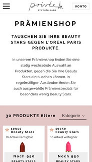 Screenshot des Privée Prämienshops als Mobile Version.