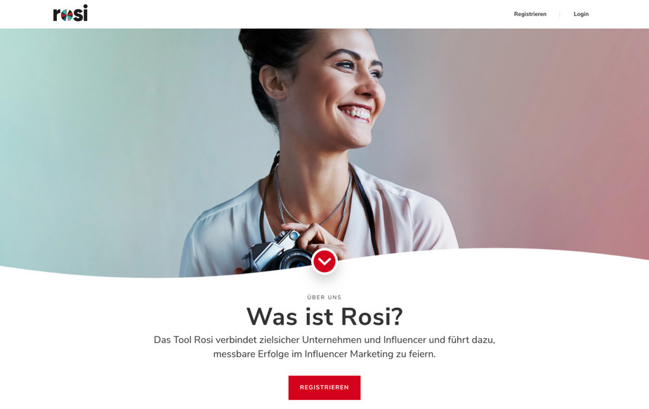 Desktop Ansicht des Registrierungsvorgangs vom ROSI Influencer Marketing Tool.
